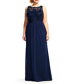 Adrianna Papell® Plus Size Sequin Mesh Gown