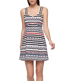 GUESS Striped Fit And Flare Dress