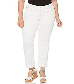 Rafaella® Plus Size Rip & Repair Ankle Jeans