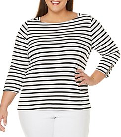 Rafaella® Plus Size Basic Striped Tee