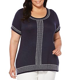 Rafaella® Plus Size Embroidery Slub Tee