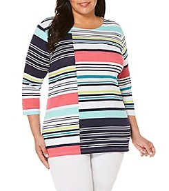 Rafaella® Plus Size Striped Zipper Tunic