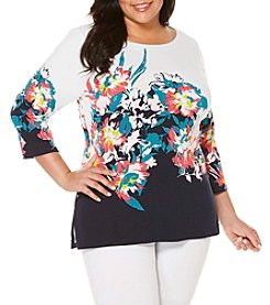 Rafaella® Plus Size Floral Engineered Tunic