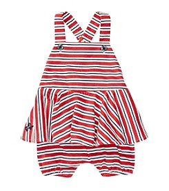 Ralph Lauren® Baby Girls' Striped Peplum Shortalls