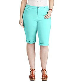 Chaps® Plus Size Stretch Cotton 5-Pocket Shorts