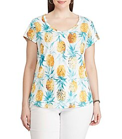 Chaps® Plus Size Pineapple-Print Jersey Tee
