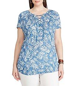 Chaps® Plus Size Tropical-Print Lace-Up Top