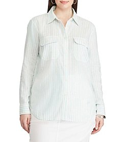 Chaps® Plus Size Striped Linen-Cotton Shirt