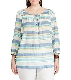 Chaps® Plus Size Striped Cotton Peasant Top
