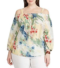 Chaps® Plus Size Printed Off-The-Shoulder Top