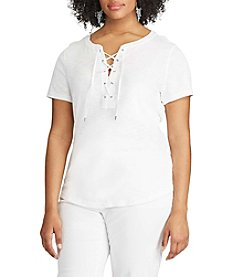 Chaps® Plus Size Lace-Up Cotton Tee