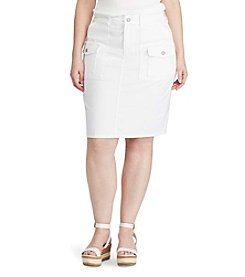 Chaps® Plus Size Stretch Denim Straight Skirt
