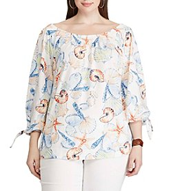 Chaps® Plus Size Seashell Print Off Shoulder Top