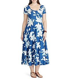 Chaps® Plus Size Tropical-Print Jersey Dress