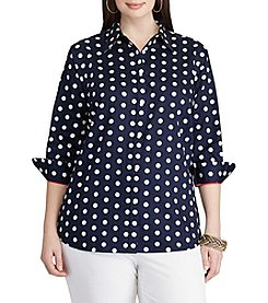 Chaps® Plus Size Polka-Dot Sateen Shirt