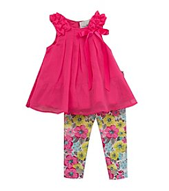 Rare Editions® Baby Girls' Chiffon Top Floral Pant Set
