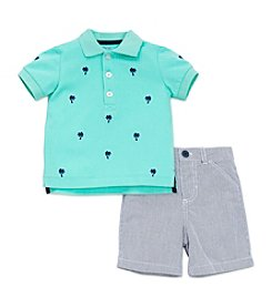 Little Me® Baby Boys Palm Tree Polo Short Set