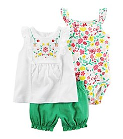 Carter's® Baby Girls' 3-Piece Floral Bodysuit and Shorts Set