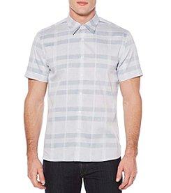 Perry Ellis® Men's Short Sleeve Tonal Plaid Dobby Shirt