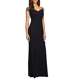 Alex Evenings® Long Fit and Flare Off The Shoulder Dress