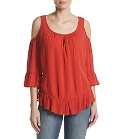Oneworld® Cold Shoulder Woven Top