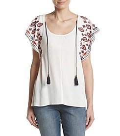 Oneworld® Embroidered Woven Top