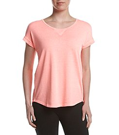 Calvin Klein Performance Solid Keyhole Split Back Tee
