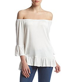 no comment™ Off Shoulder Peplum Sleeve Blouse