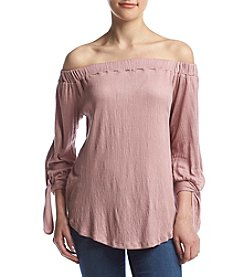 no comment™ Off Shoulder Tie Sleeve Blouse