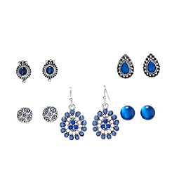 Studio Works® Five Pair Tonal Blue Earring Set
