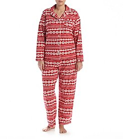 Intimate Essentials® Plus Size Notch Collar Printed Pajama Set