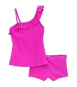 Jessica Simpson Girls' 7-16 Two Piece Solid Ruffle Tankini Set