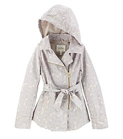 Jessica Simpson Girls' 7-16 Paisley Printed Asymmetrical Trench Coat