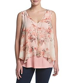 A. Byer Plus Size Floral Pop-Over Tank