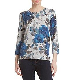 Alfred Dunner Shimmer Floral Crewneck Sweater