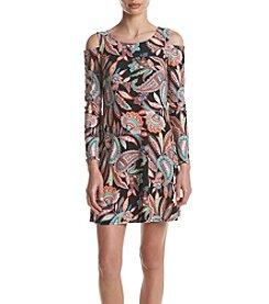 AGB® Paisley Long Sleeve Cold Shoulder Print Dress