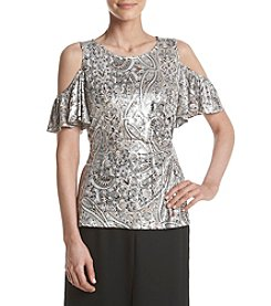 MSK® Printed Shine Cold Shoulder Top