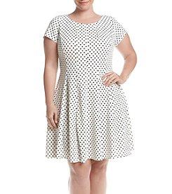 Gabby Skye® Plus Size Off White Shor Sleeve Dot Scuba Dress