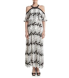 Taylor Dresses Cream & Black Strap Overlay Print Maxi Dress