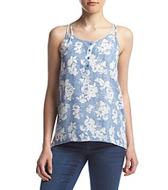 Pink Rose® Double Strap Henley Floral Tank