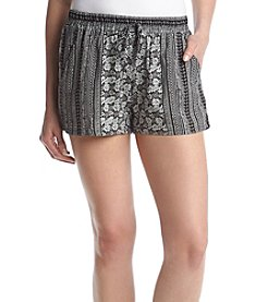 Be Bop Black & White Printed Boho Shorts
