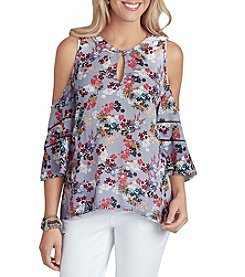 Democracy Floral Cold Shoulder Blouse