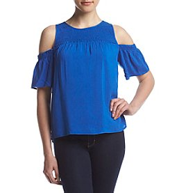 Eyeshadow® Smocked Cold-Shoulder Top