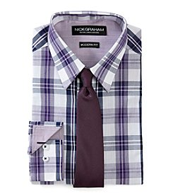 Nick Graham® Men's Gingam Slim Fit Dress Shirt With Tie