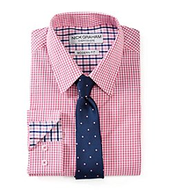 Nick Graham® Men's Gingham Regular Fit Dress Shirt and Tie Set