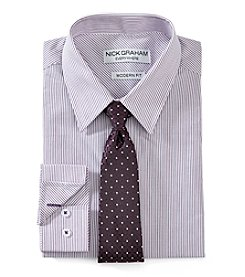 Nick Graham® Men's Regular Fit Stripe Dress Shirt With Tie Set