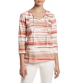Breckenridge® Petites' Smock Neck Knit Top