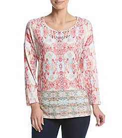 Breckenridge® Petites' Dolman Split Print Knit Top