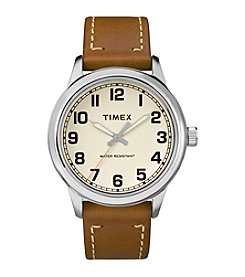 Timex® Elevated Brown Leather Strap Watch