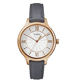 Timex® Women's Style Elevated Grey Leather Strap Watch